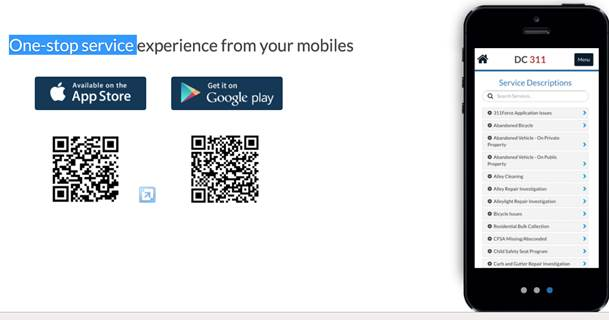 311 App QR Codes for Apple and Android
