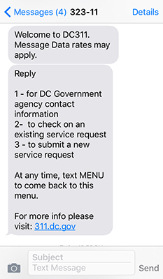 Text to DC311 Screenshot