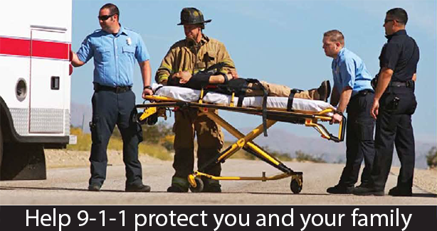 First responders with text: Help 9-1-1 protect you and your family