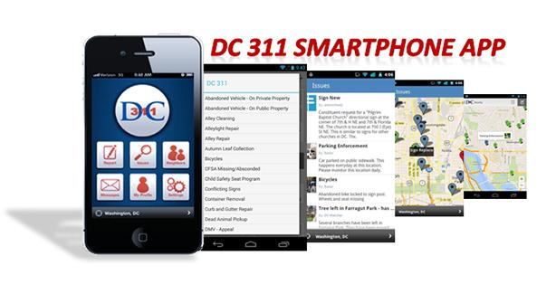 DC 311 Smartphone App Screenshots